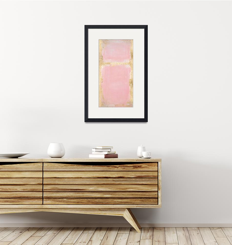 """Pink And Gold Abstract Art Painting""  by fineartgallery"