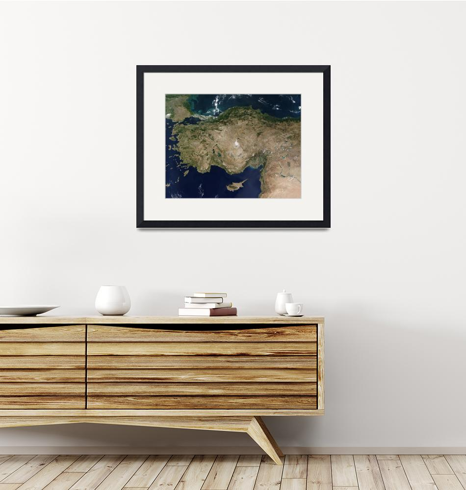 """""""Satellite view of Turkey and the island of Cyprus""""  by stocktrekimages"""