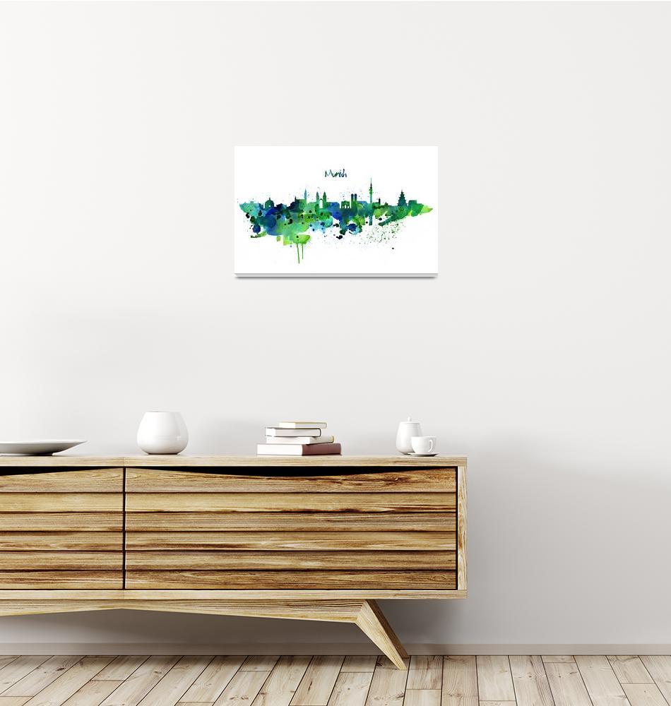 """Munich Skyline Silhouette""  (2016) by MarianVoicu"