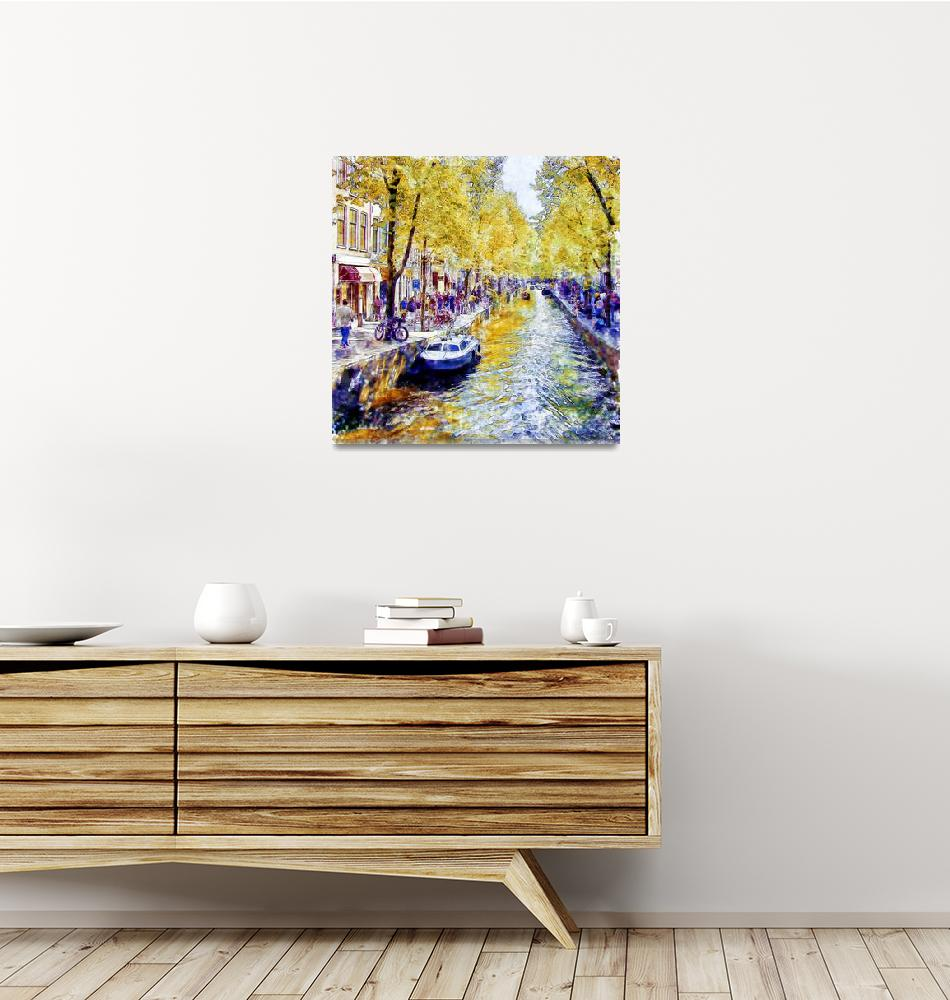 """Amsterdam Canal watercolor""  (2015) by MarianVoicu"