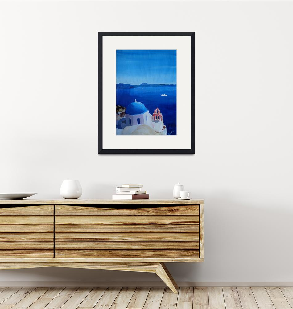 """""""Santorini, Greece - View from Oia Vintage Poster""""  (2015) by arthop77"""