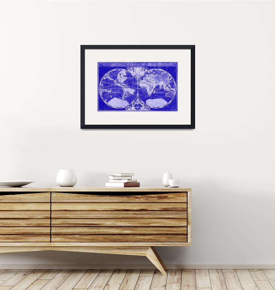 """World Map (1691) Blue & White""  by Alleycatshirts"