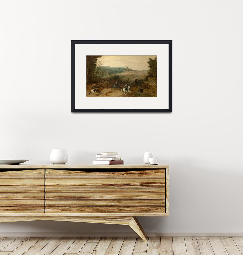 """""""Sebastiaen Vrancx~Landscape with Travellers Attack"""" by Old_master"""