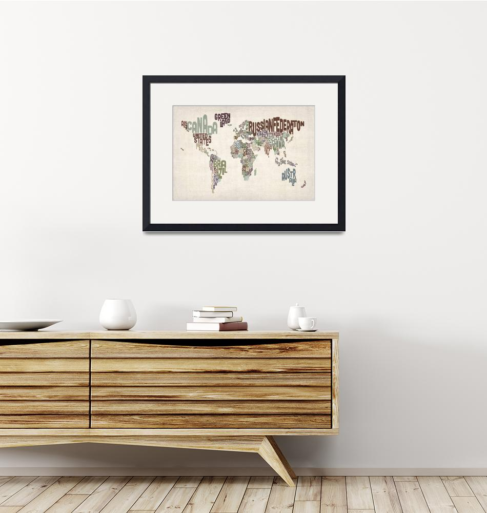 """Text Map of the World""  (2012) by ModernArtPrints"