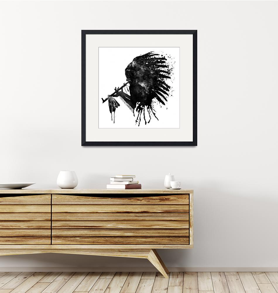 """""""Indian With Headdress Black And White Silhouette""""  (2017) by MarianVoicu"""
