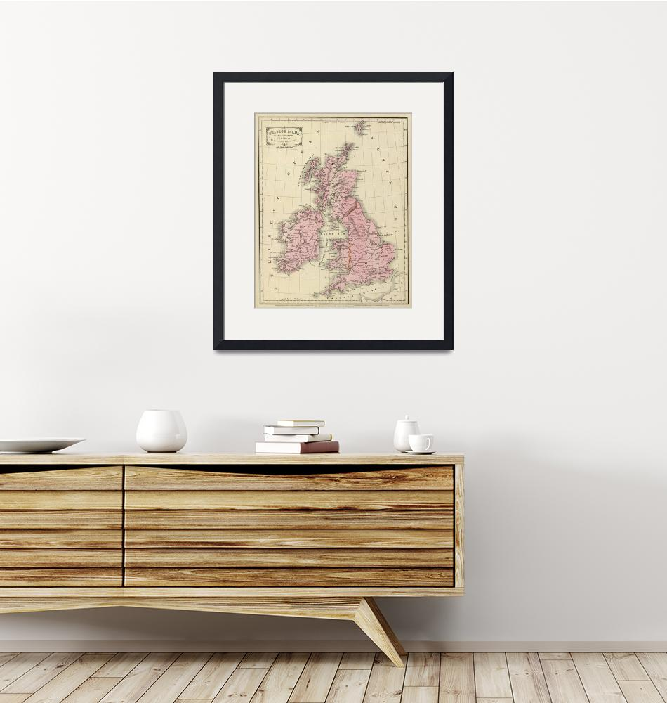 """""""Vintage Map of The British Isles (1864)""""  by Alleycatshirts"""