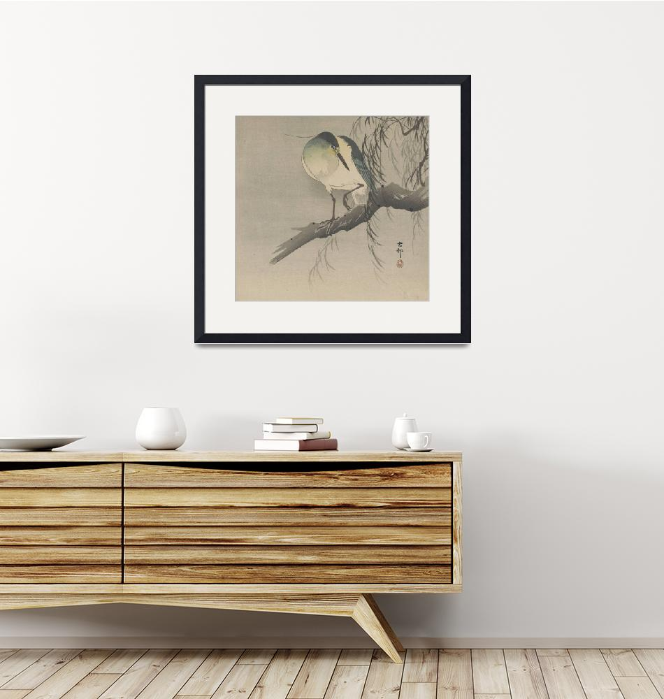"""Ohara Koson~Night-heron with raised leg perched on""  by Old_master"
