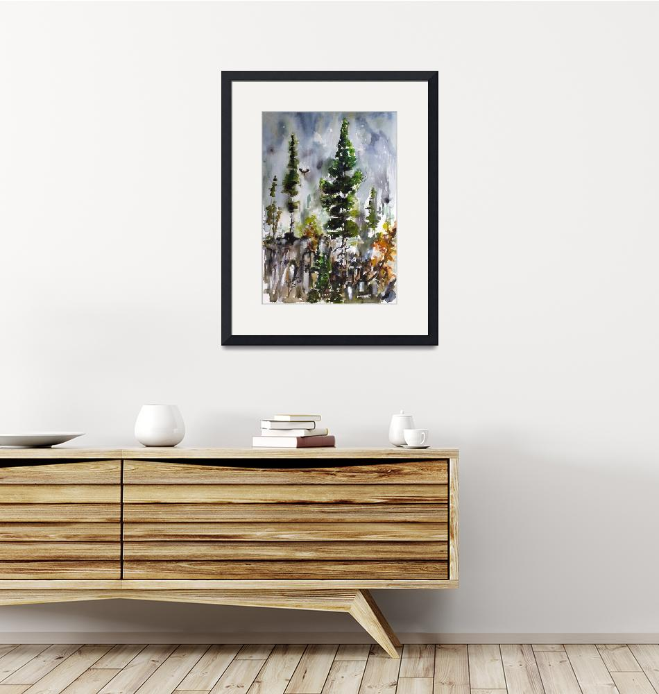 """Fir Trees Landscape Portrait Watercolors Nature""  (2020) by GinetteCallaway"