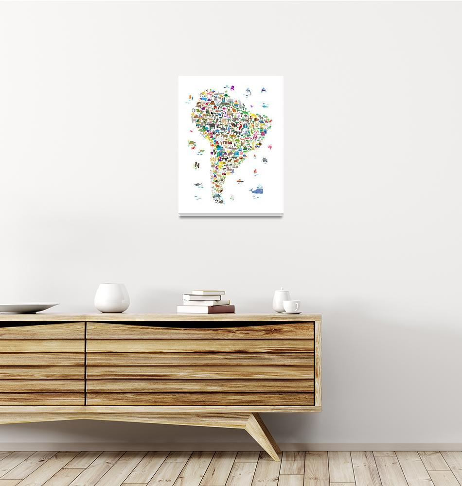 """""""Animal Map of South America for children and kids""""  (2018) by ModernArtPrints"""