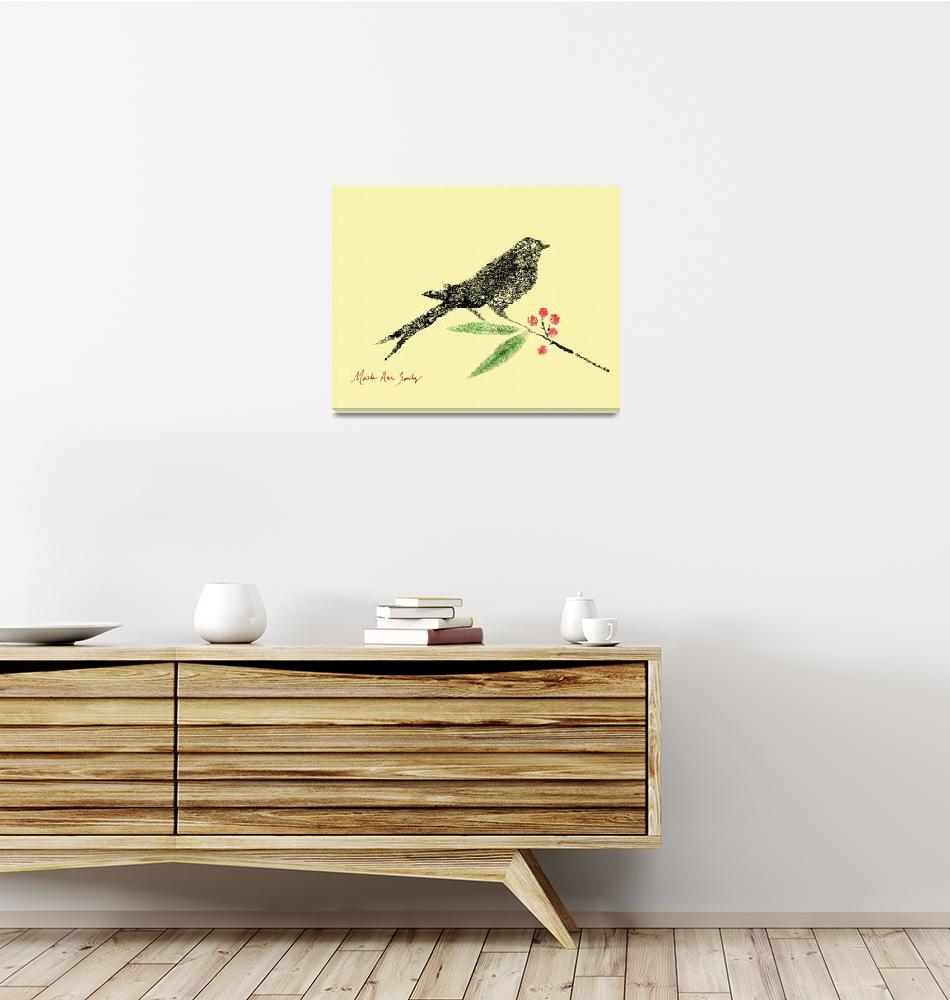 """""""Decorative Black Bird and Red Berries on Yellow L""""  (2015) by MasArtStudio"""
