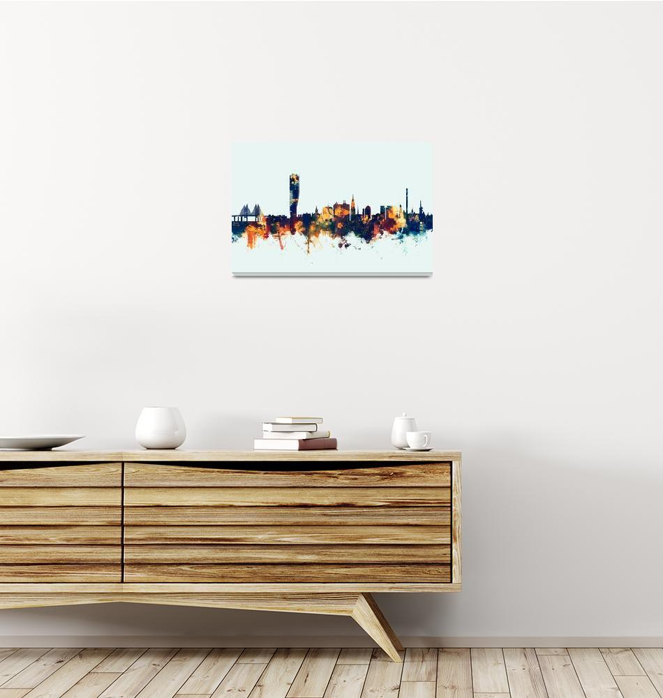 """Malmo Sweden Skyline""  (2016) by ModernArtPrints"