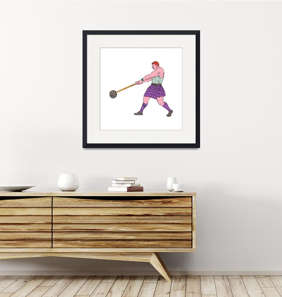 """""""Weight Throw Highland Games Athlete Drawing""""  (2017) by patrimonio"""