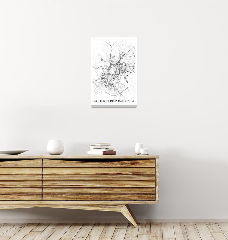 """Santiago de Compostela, Spain, city map print.""  by dandistudio"