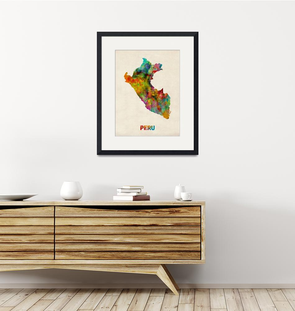"""Peru Watercolor Map""  by ModernArtPrints"