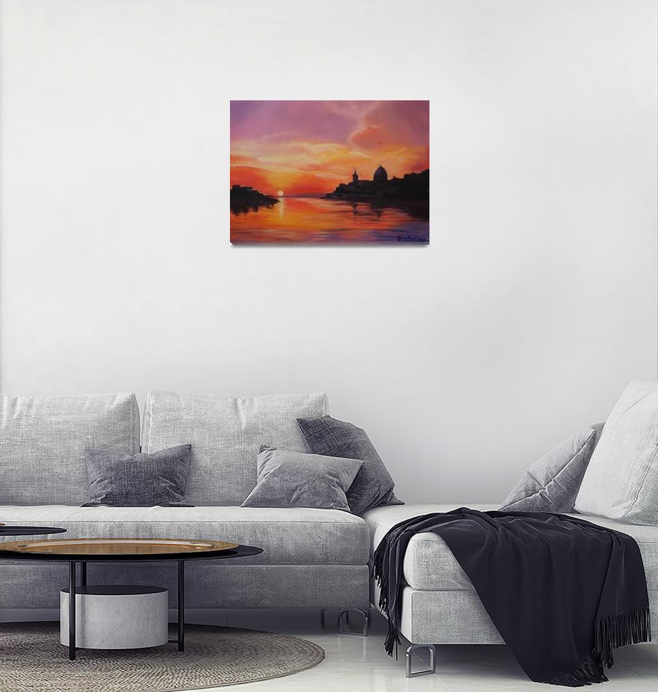"""Sunrise over Valletta""  (2009) by Papillon55"