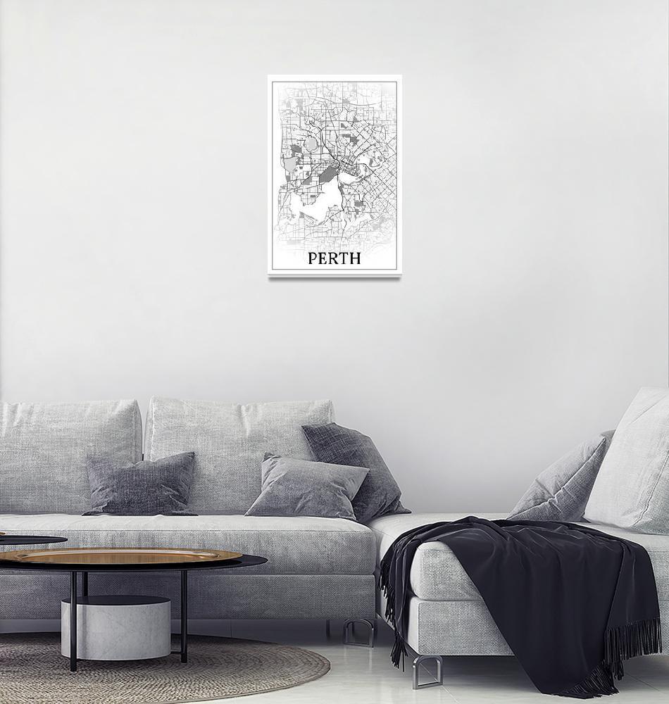 """Perth, Australia, city map print.""  by dandistudio"