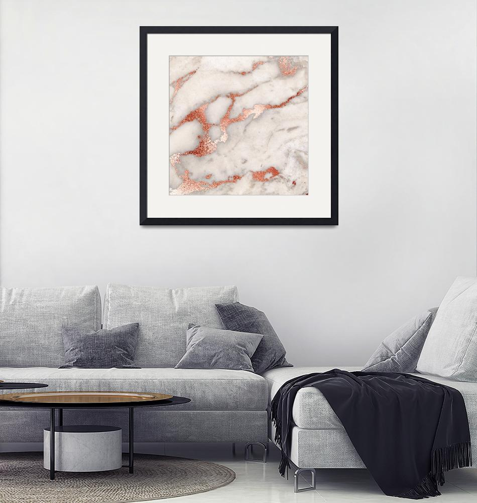 """""""Rose Gold Marble Blush Pink Copper Metallic Foil"""" by fineartgallery"""
