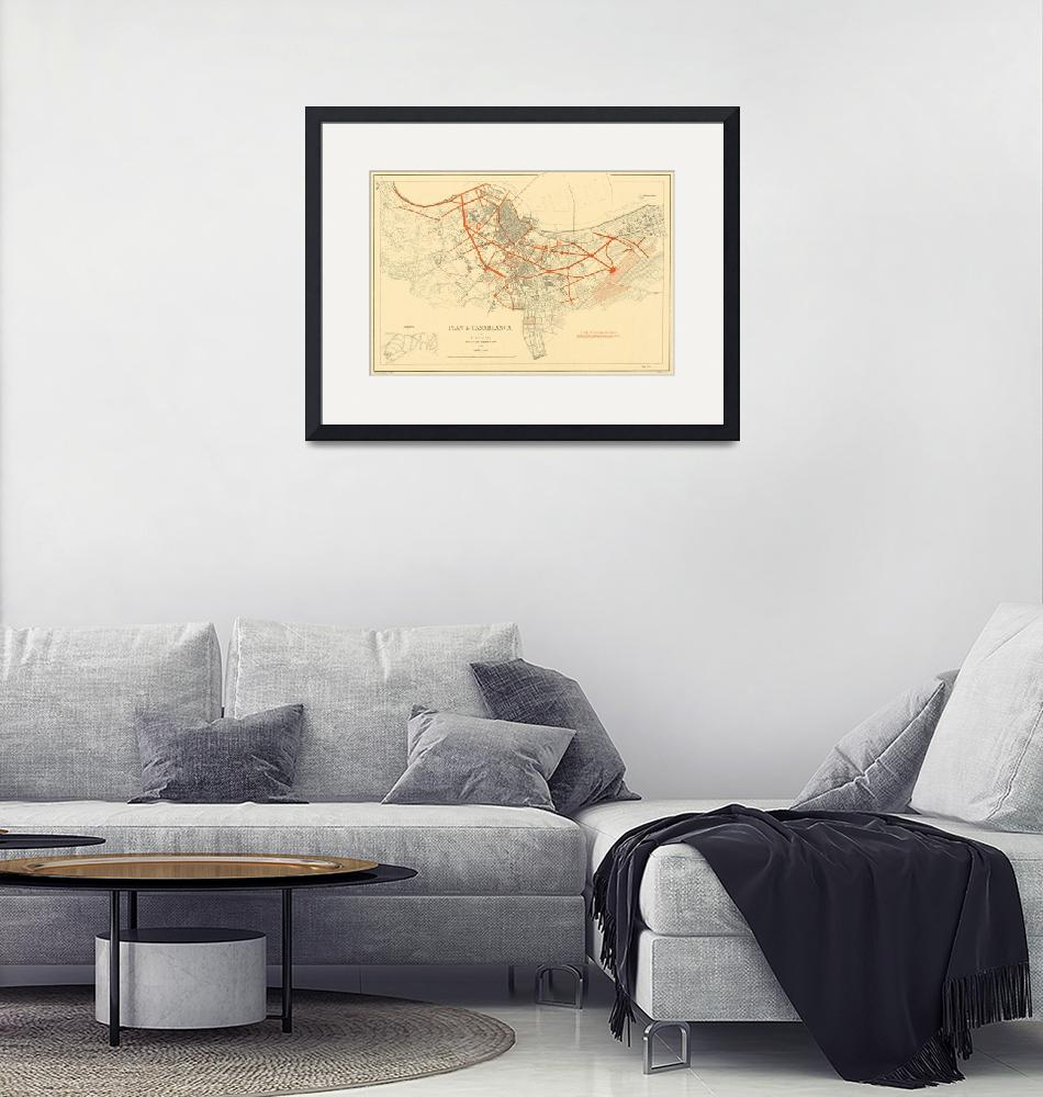 """Vintage Map of Casablanca Morocco (1917)""  by Alleycatshirts"