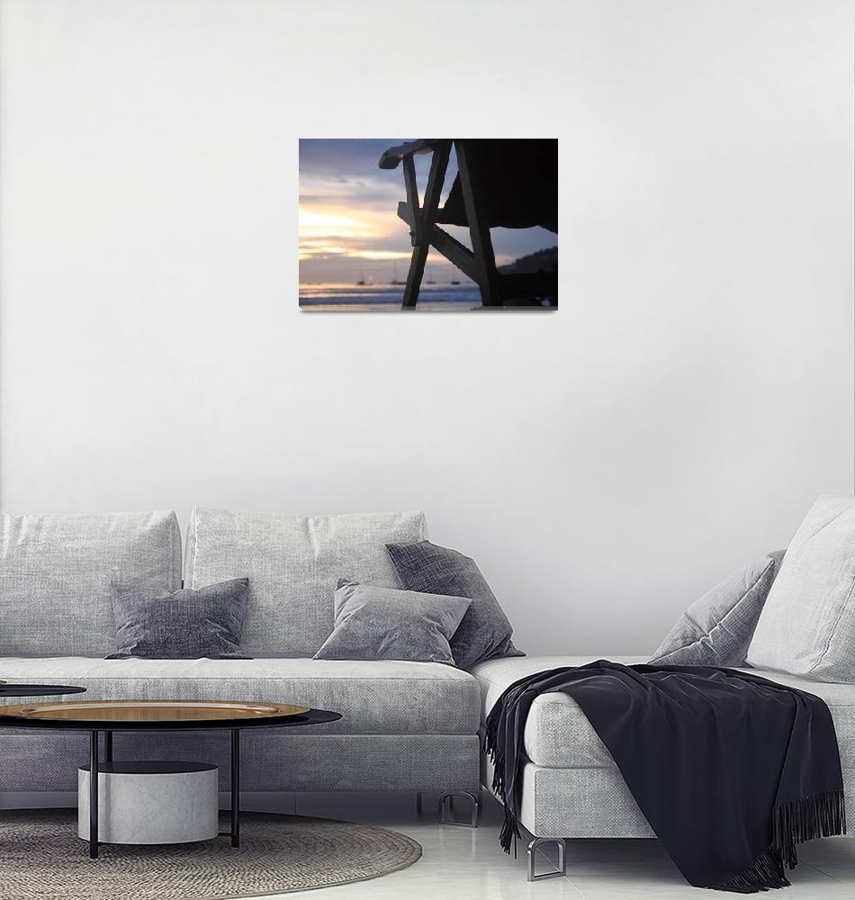 """""""beach chair sunset san juan nicaragua""""  (2011) by charker"""