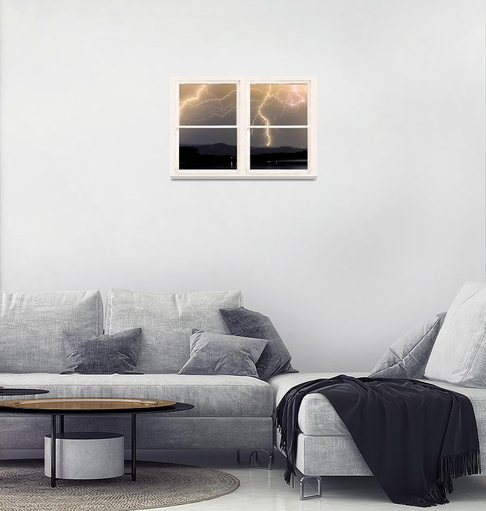 """Stormy Night Window View""  (2014) by lightningman"