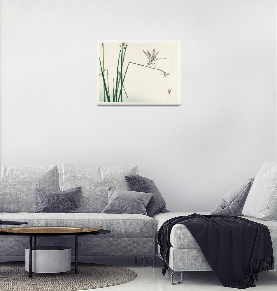 """Dragonfly on Bulrush leaf by Kono Bairei""  by FineArtClassics"
