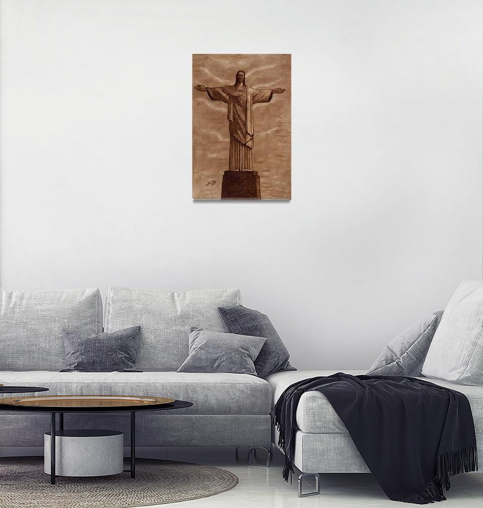 """Christ The Redeemer Statue Original Coffee Art""  (2014) by georgeta-blanaru"
