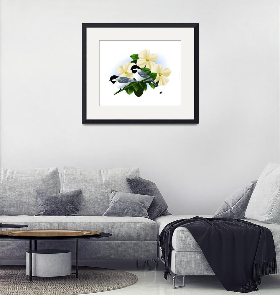 """Black Capped Chickadee Art""  by waterart"