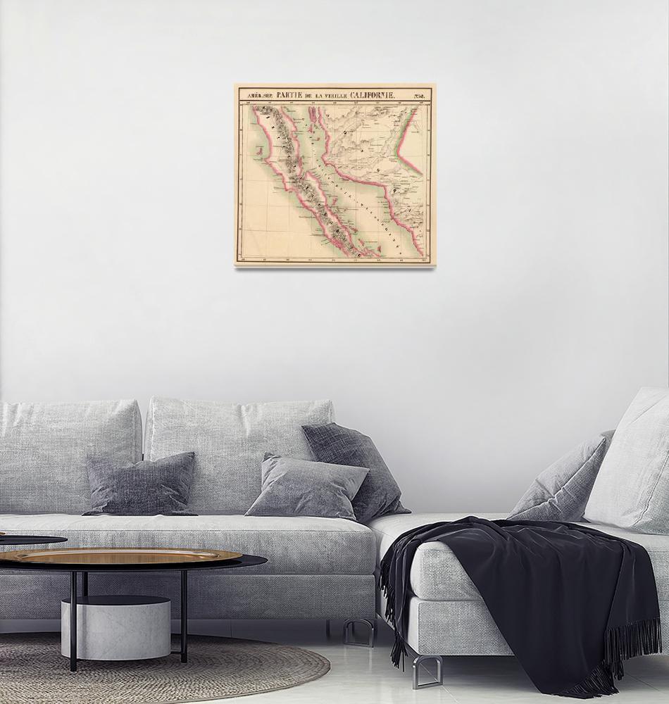 """Vintage Map of Baja California (1827)""  by Alleycatshirts"