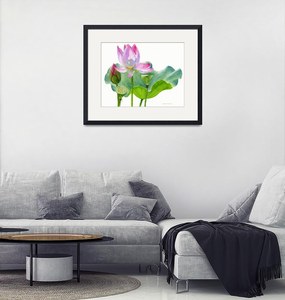 """""""Lotus Blossom with Lily Pad and Bud""""  (2014) by Pacific-NW-Watercolors"""