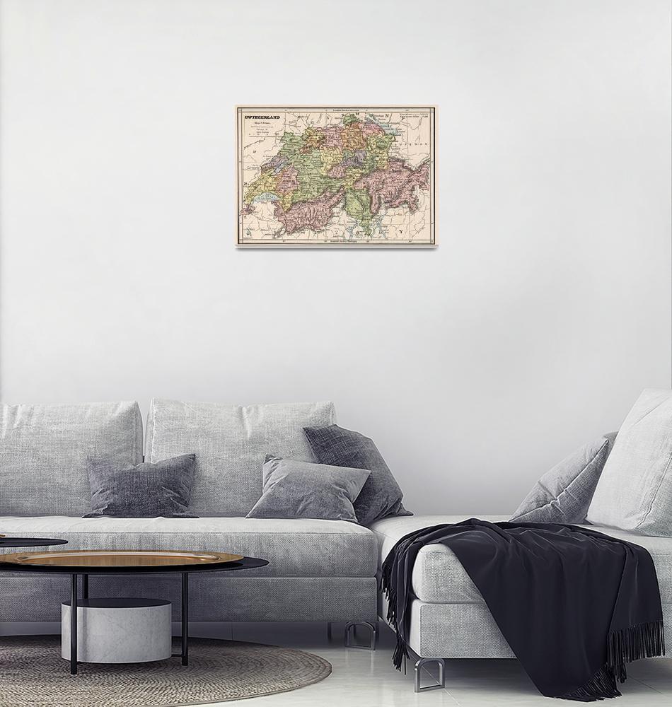 """Vintage Map of Switzerland (1882)""  by Alleycatshirts"
