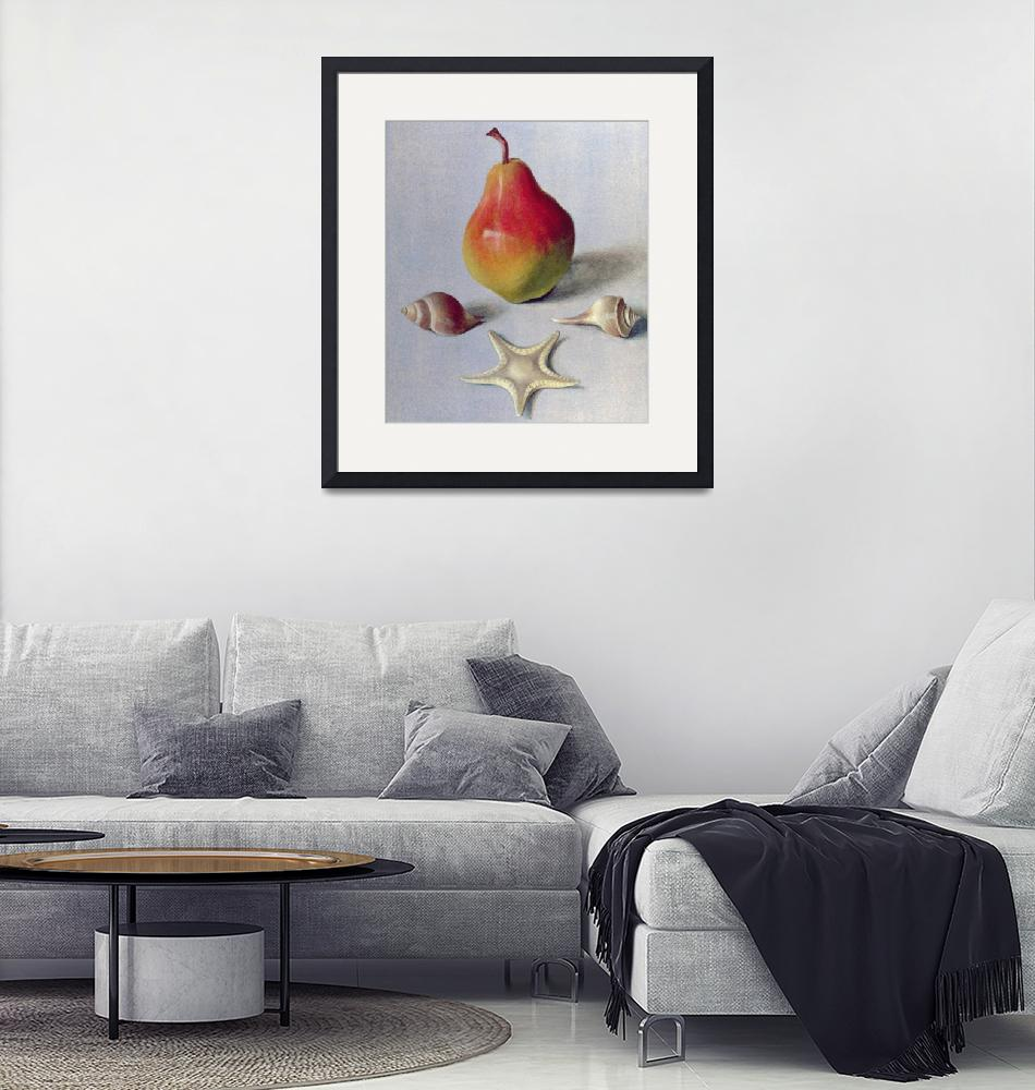 """""""Pear and Shells, 1981 (egg tempera on paper)""""  by fineartmasters"""