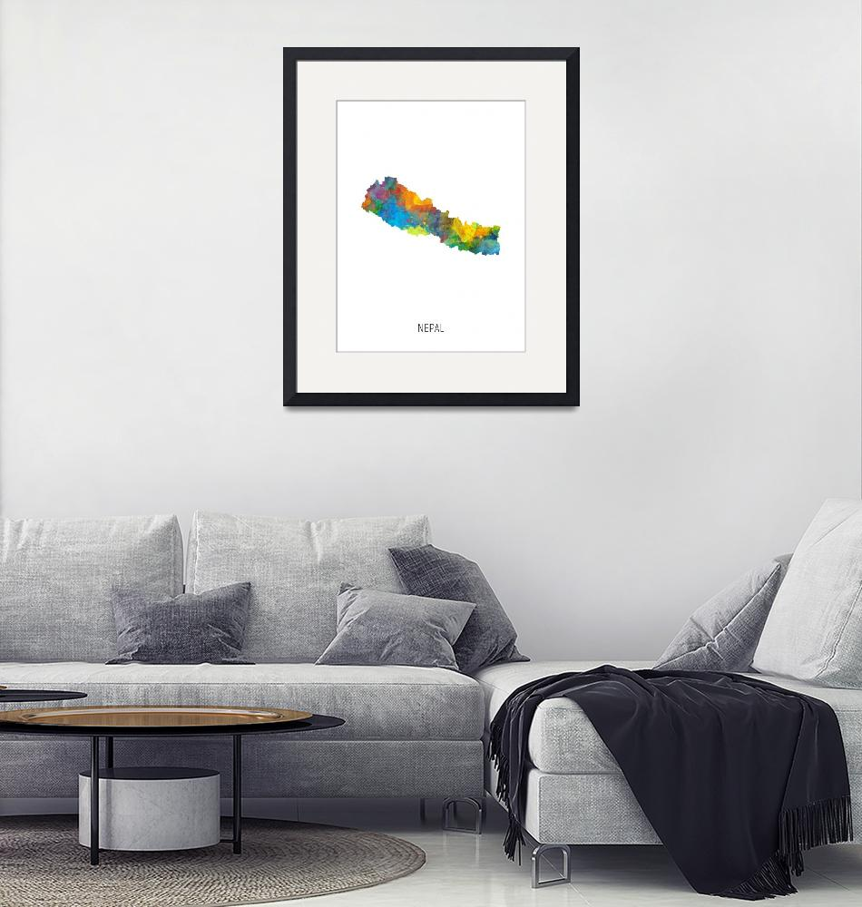"""Nepal Watercolor Map""  (2019) by ModernArtPrints"