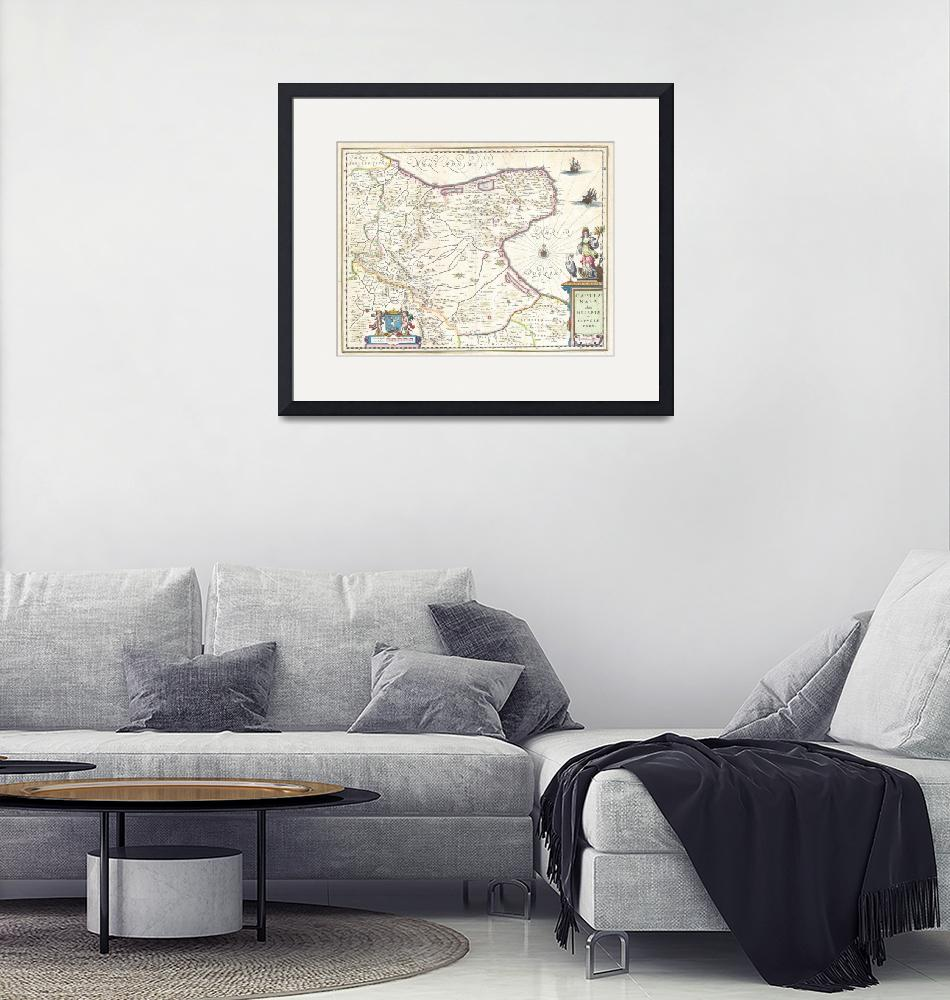 """""""Map of Capitanata (Foggia), Italy by Willem Blaeu""""  by FineArtClassics"""