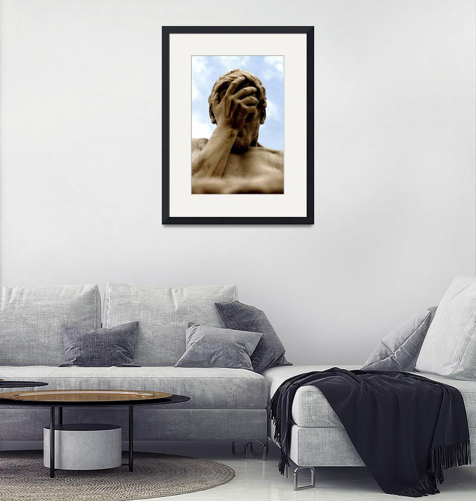 """Statue Head in Hand Art Prints on Sale""  (2010) by tobiphoto"