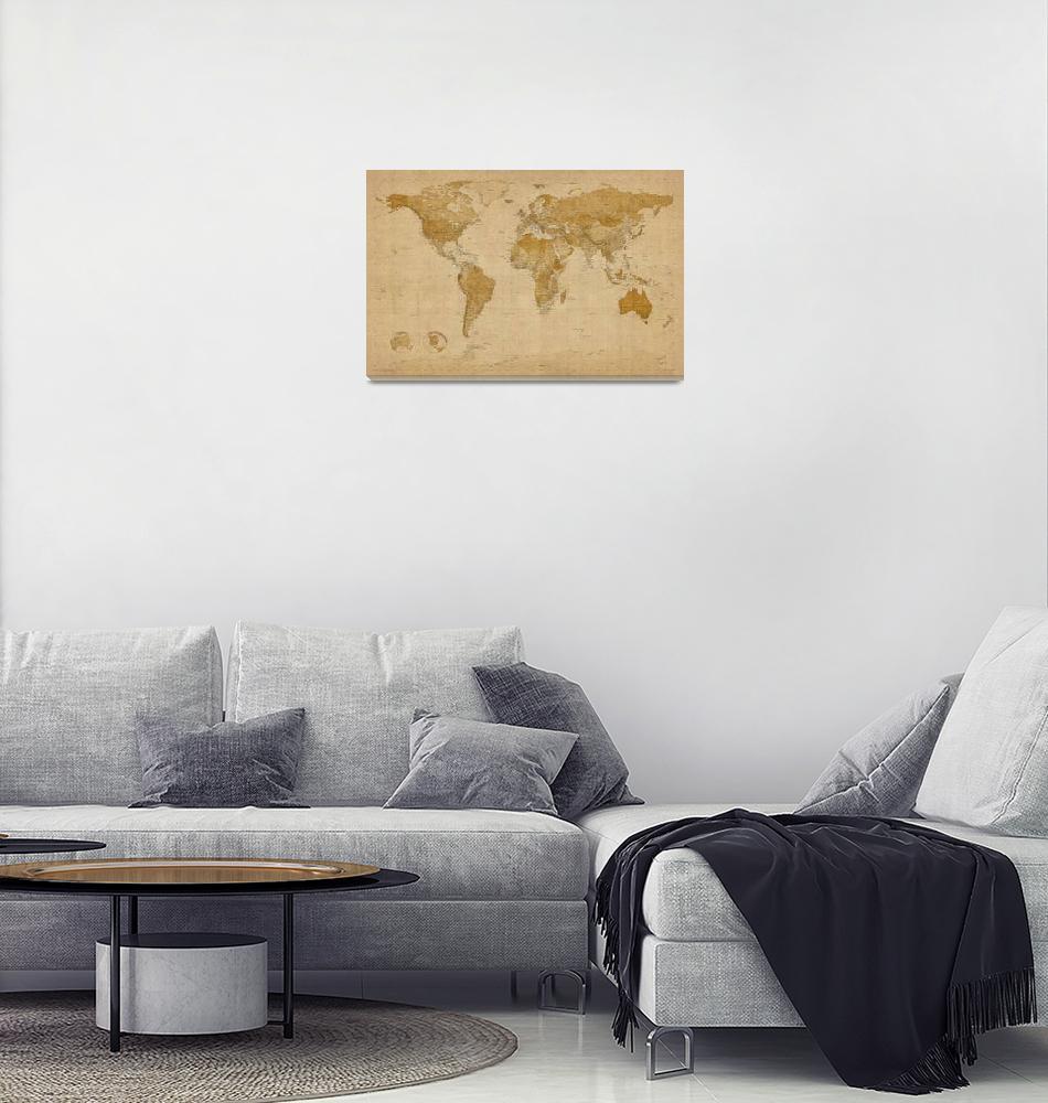 """World Map Antique Style""  (2011) by ModernArtPrints"
