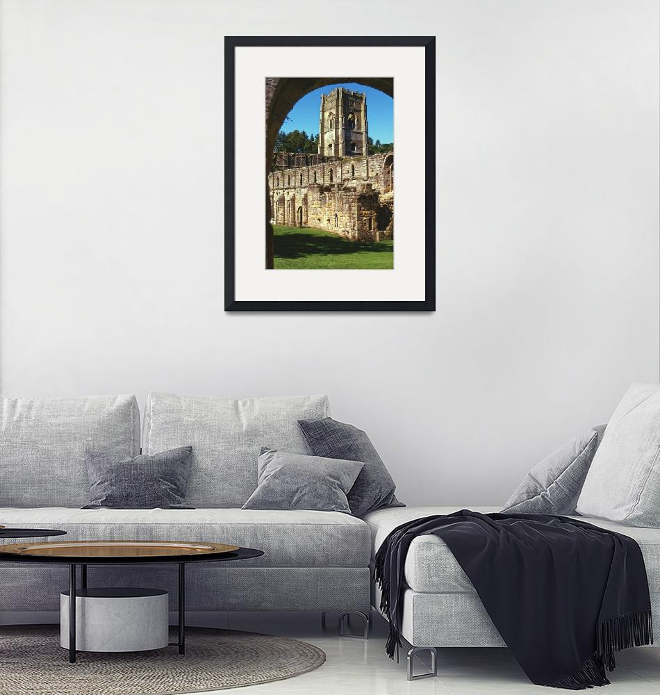 """Fountains Abbey in Summer 8""  (1990) by PriscillaTurner"