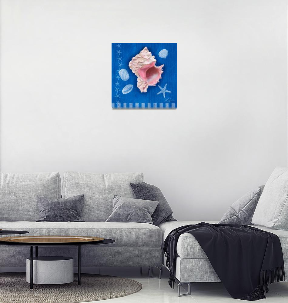 """Seashells on Blue III""  (2009) by shariwarren"
