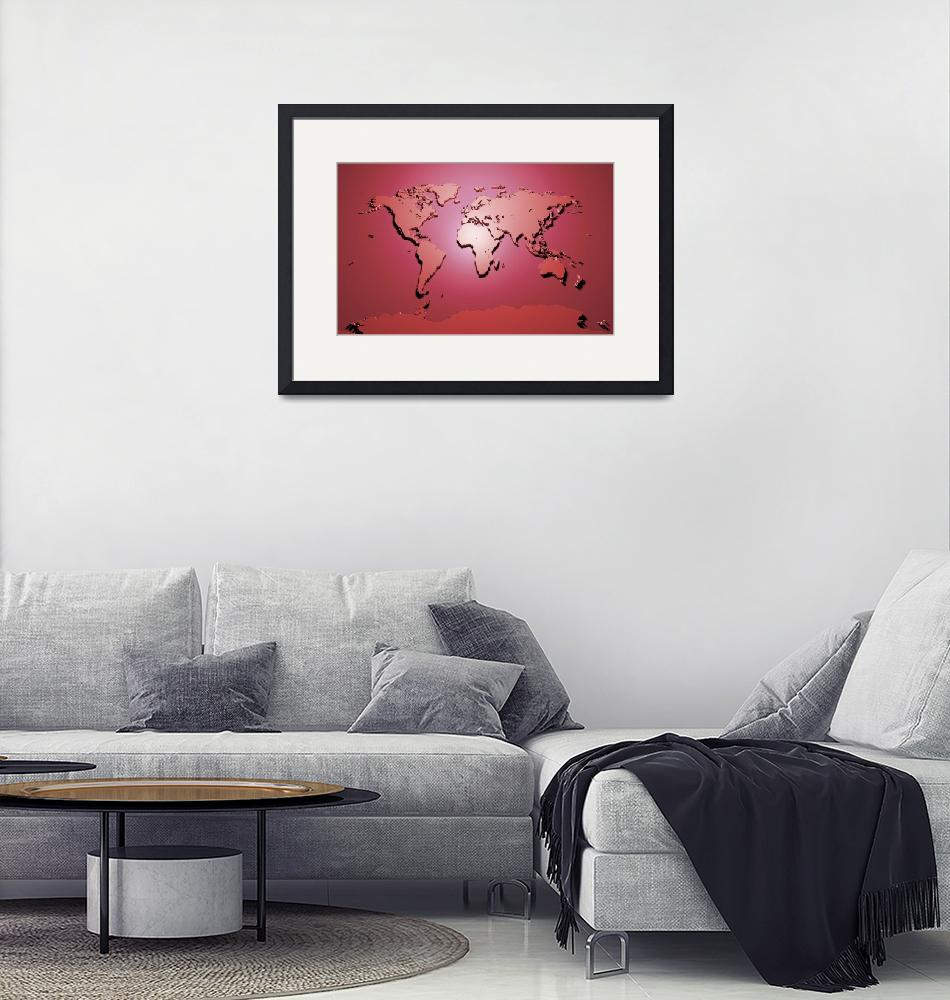 """World Map in Red""  (2011) by ModernArtPrints"