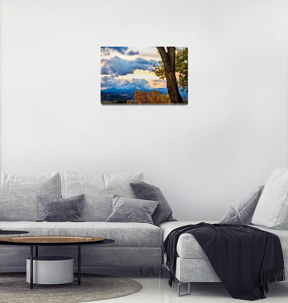 """Colorado Rocky Mountain Twin Peaks Autumn View""  (2014) by lightningman"
