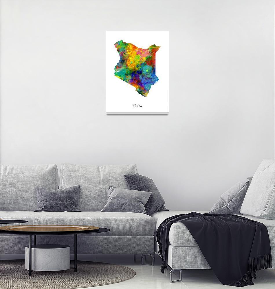 """Kenya Watercolor Map""  (2019) by ModernArtPrints"
