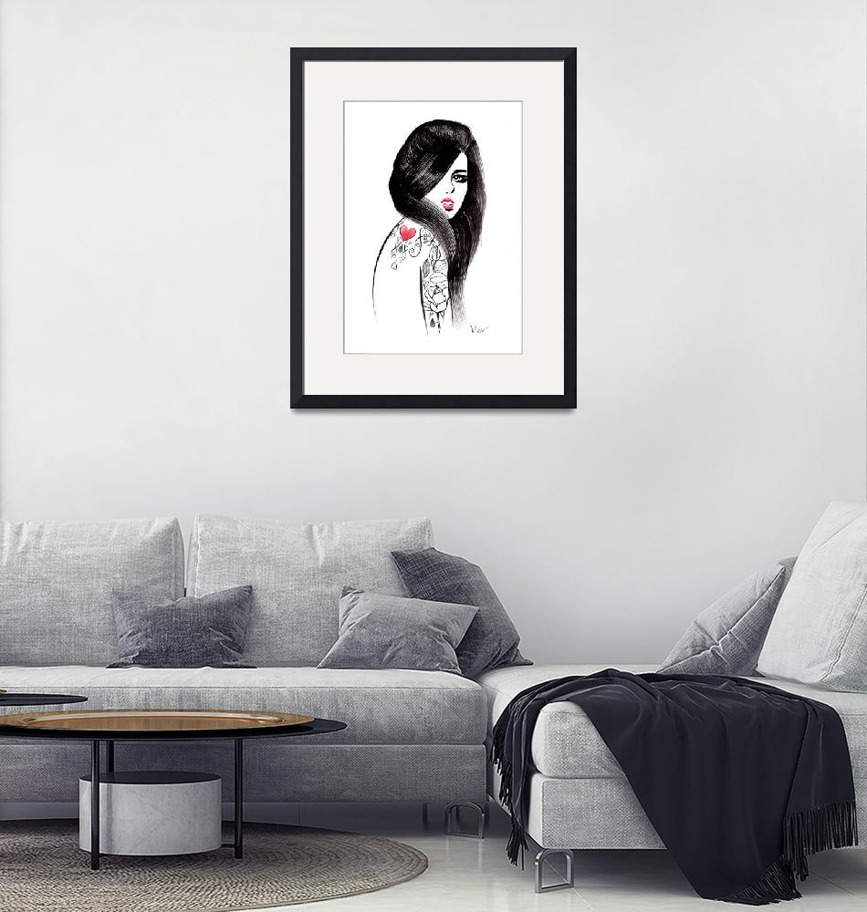 """""""Ink in her veins - fashion illustration of a girl""""  (2015) by nevenaart"""