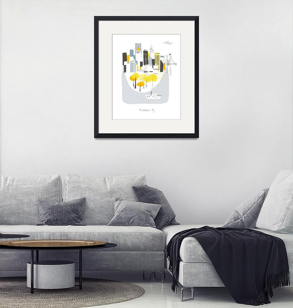 """Manhattan Modern Cityscape Illustration""  by AlbieDesigns"