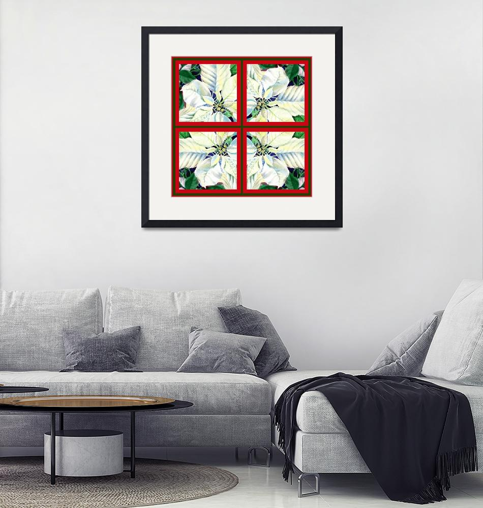 """White Poinsettia Painting Holiday Decor""  (2015) by IrinaSztukowski"
