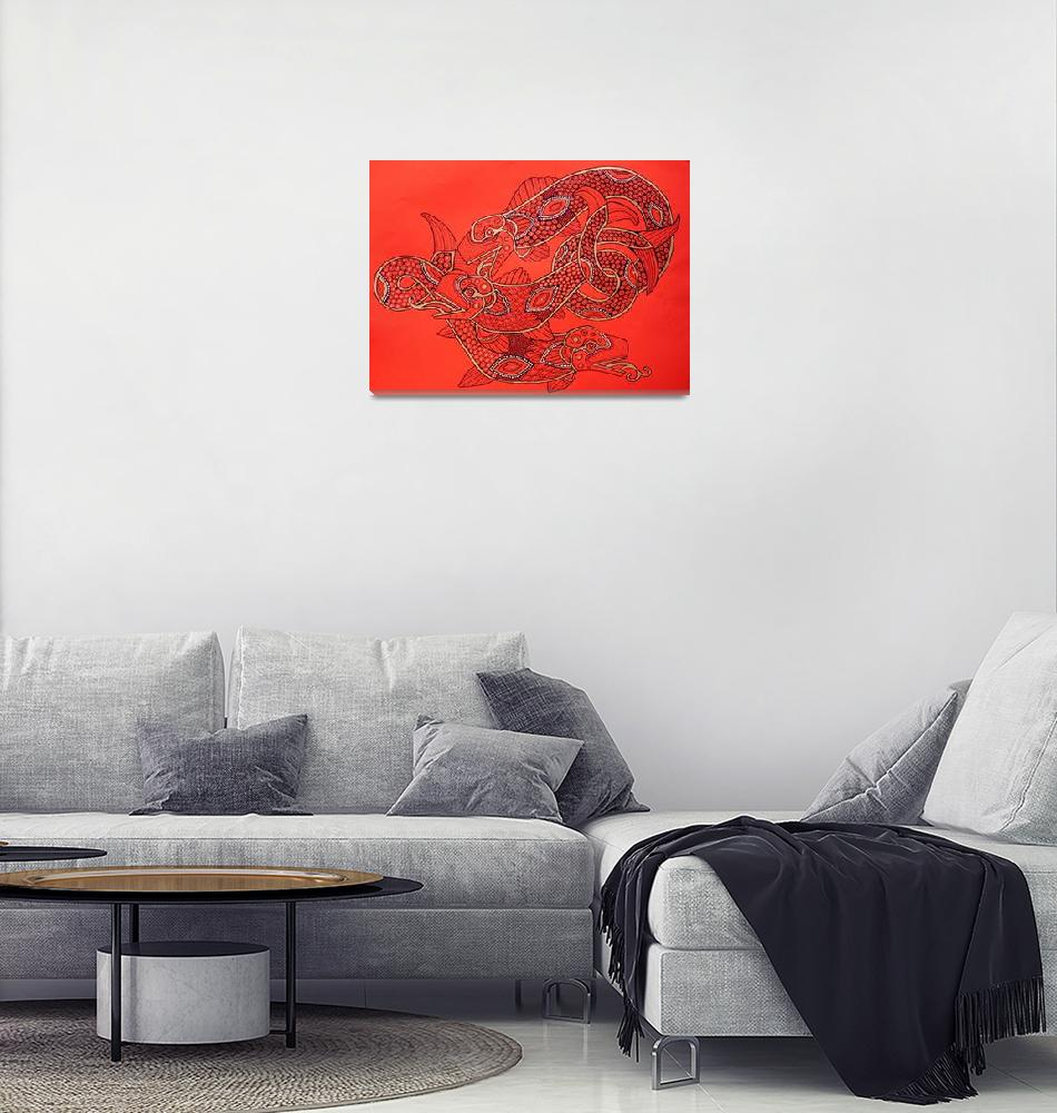 """Three Wily Salmon""  (2010) by LynnetteShelley"