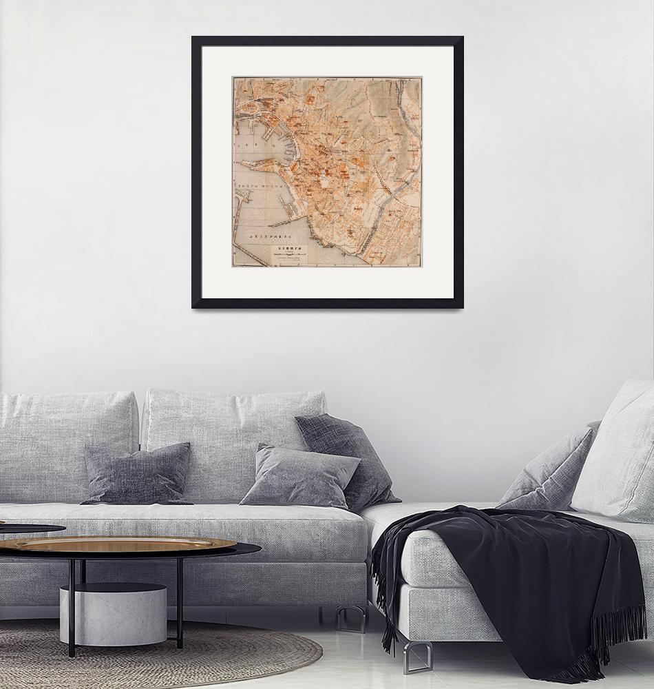 """""""Vintage Map of Genoa Italy (1906)""""  by Alleycatshirts"""