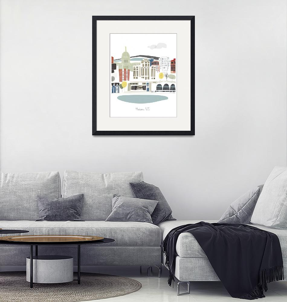 """Madison Modern Cityscape Illustration""  by AlbieDesigns"