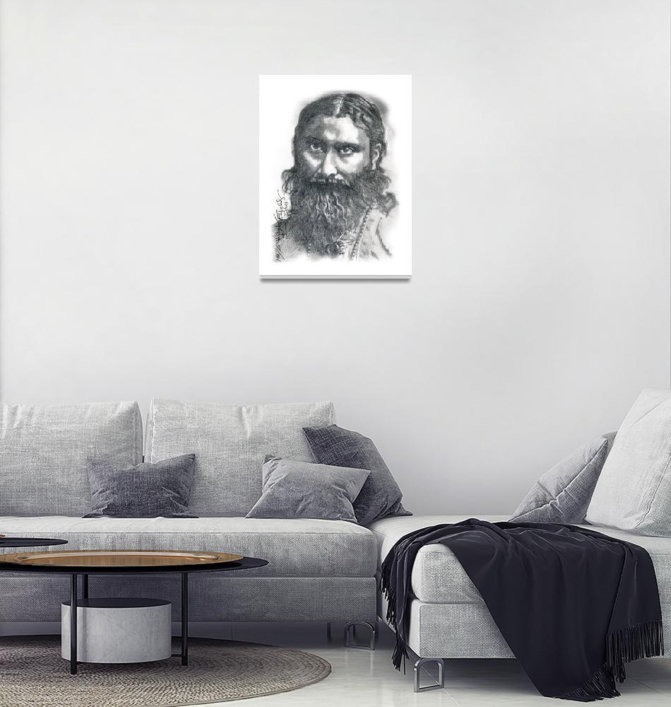 """Hand Drawn Portrait of Hazrat Inayat Khan""  by CreativeArtisticNuance"