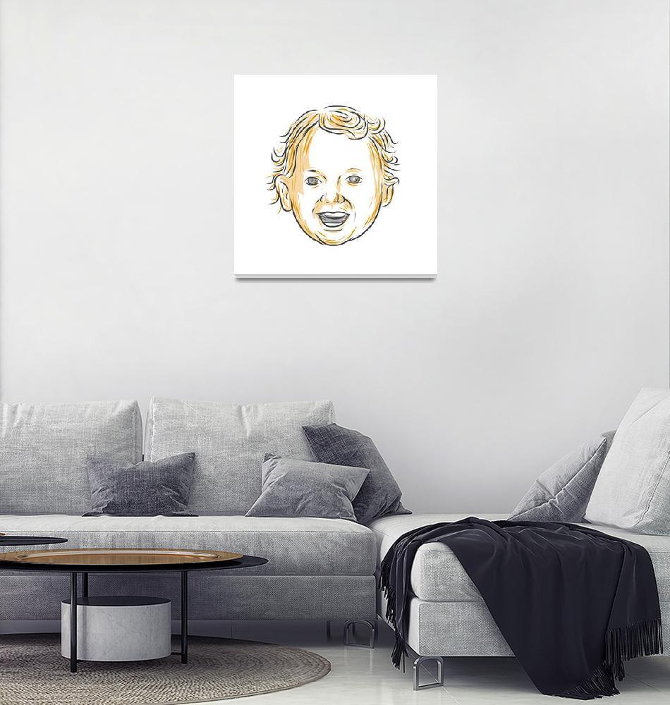 """Caucasian Toddler Smiling Drawing""  (2016) by patrimonio"