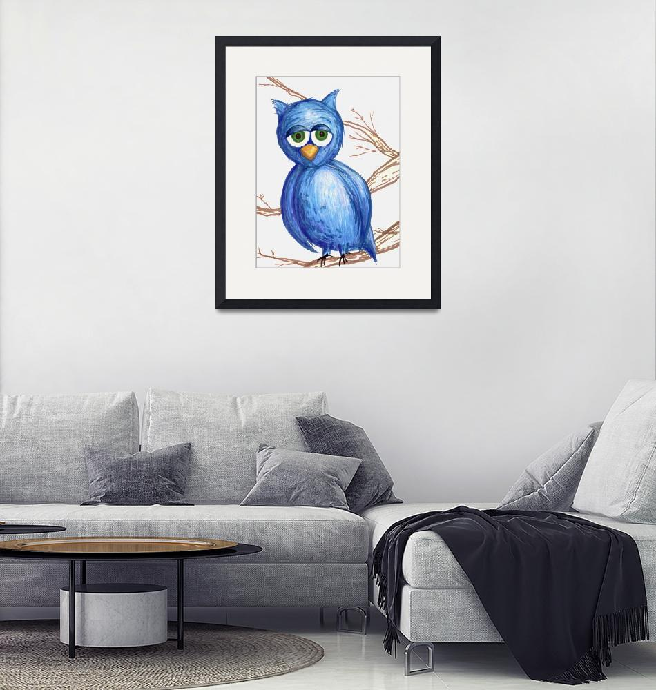 """Sleepy Blue Owl""  (2011) by rachaeledmonds"