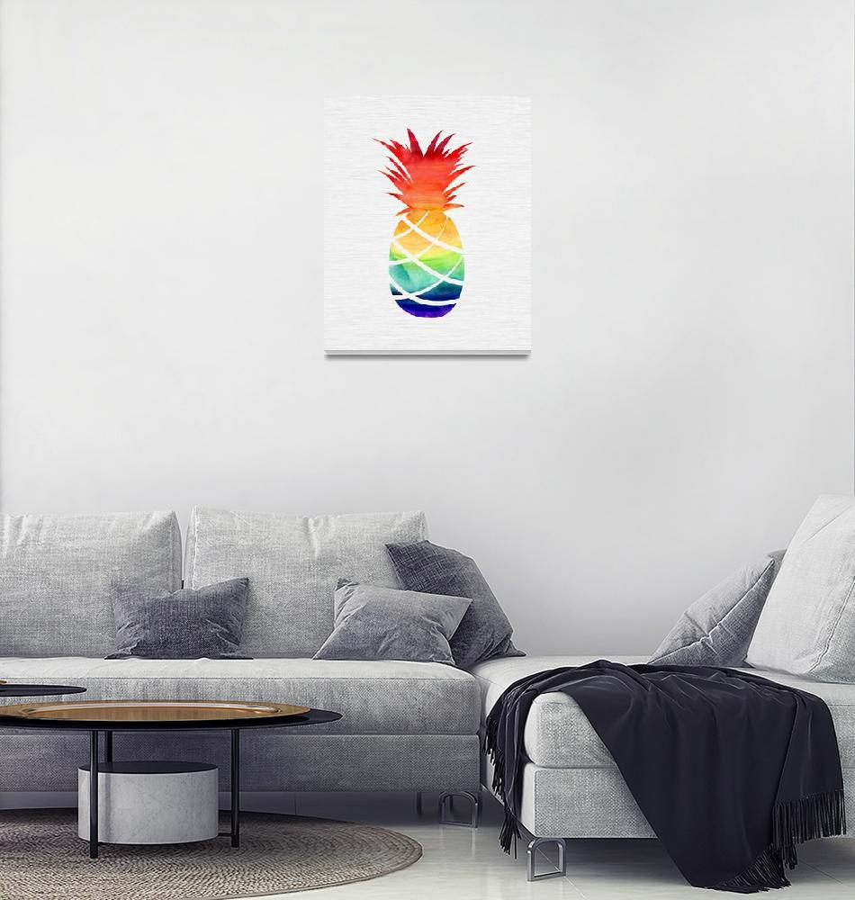 """Rainbow Pineapple""  (2018) by moderntropical"
